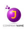 j letter splash purple dots and circle bubble vector image vector image
