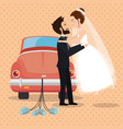 just married couple with car avatars characters vector image vector image