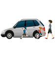 Kids running near the parked vehicle vector image