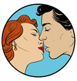 kissing couple in retro style vector image