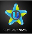 letter u logo symbol in the colorful star on black vector image