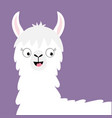 llama alpaca happy head face cute cartoon funny vector image