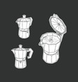 moka pot set isolated vector image