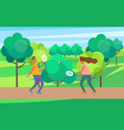 people playing badminton vector image vector image