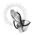 Praying hand drawing vintage clip art isolated on