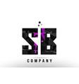 purple black alphabet letter sb s b logo vector image