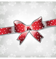 red bow on xmas background vector image vector image
