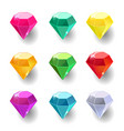set cartoon round different color crystals vector image