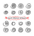 set hand drawn doodle spiral line swirl vector image