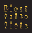 set of beer glasses and beer mugs icons on black vector image vector image