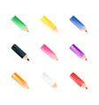 set of color small pencils realistic style vector image vector image