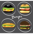 Set of fast food burgers burritos vector image vector image
