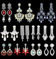 set of jewelry earrings with precious stones vector image vector image