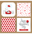 set with dog dreaming and patterns with hearts vector image