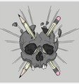 skull and pencils vector image vector image