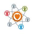 social relations conceptual logo unique symbol vector image vector image