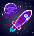 sticker a purple space rocket with a porthole that vector image vector image