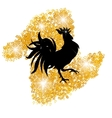 Stylized black cock on a background of golden sand vector image vector image