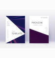 triangle cover design template set violet abstrac vector image