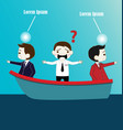 Two Businessman with conflict thinking on boat vector image vector image