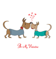 Valentine s day greeting card with cartoon dog vector image vector image