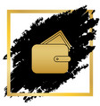 wallet sign golden icon at vector image
