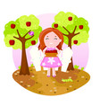 with cute girl picking apples vector image