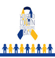world down syndrome day blue and yellow loop vector image