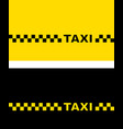 yellow and black taxi card vector image vector image