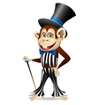 Cheerful monkey in dandy clothes vector image