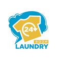 24 hours laundry room promotional logotype with t vector image vector image