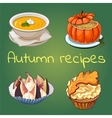 Autumn healthy recipes four icons with dishes vector image