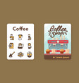 banner coffee shop and linear icons set vector image vector image