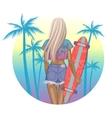 Beautiful fashion girl with longboard vector image vector image