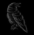 black and white ilustration of raven vector image