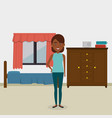 black woman in the bed room character scene vector image