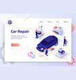 car repair shop isometric web banner