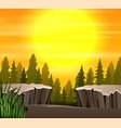 cartoon a nature sunset scene background vector image