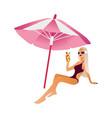 cartoon beach girl isolated vector image vector image