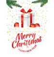 christmas greeting card with gift box and red vector image vector image