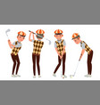 classic golf player swing shot on course vector image vector image