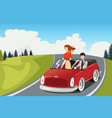 couple riding a car going on a road trip vector image