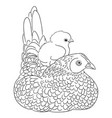 cute chicken line art vector image vector image