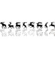 deer and elk black and white silhouette set vector image vector image
