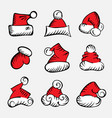 doodle christmas hat vector image vector image