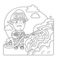 firefighter coloring page vector image vector image