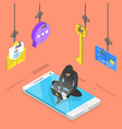 flat isometric concept of phishing vector image