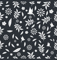 floral seamless pattern leaves and birds outlines vector image