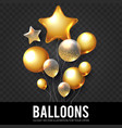 gold realistic glossy and transparent balloons vector image vector image