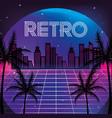 graphic city with palms and neon texture vector image vector image